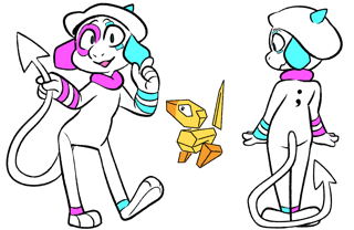 Point and Click are a duo to represent programming as a form of creative expression! Point (the Smeargle) has a mouse cursor tail, CGA palette, and will debug their code by explaining it to a rubber duck styled Porygon pal named Click!