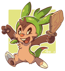 "Artwork done for the PMDU Team ""Over-Archivers"", a young Chespin who isn't afraid of anything."